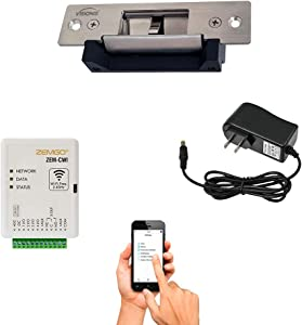 Zemgo FPC-8419 Smart Mobile WiFi Controller for Access Control with Android + Apple App, Web Browser + Smartphone Remote Viewing, 770lbs Electric Door Strike Fail Safe Fail Secure + Power Supply