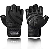 SIMARI Workout Glovesfor Men Women,Training Gloves with Wrist Support for Fitness Exercise Weight Lifting Gym Crossfit,Made of Microfiber and Air Mesh SMRG903(Black M)