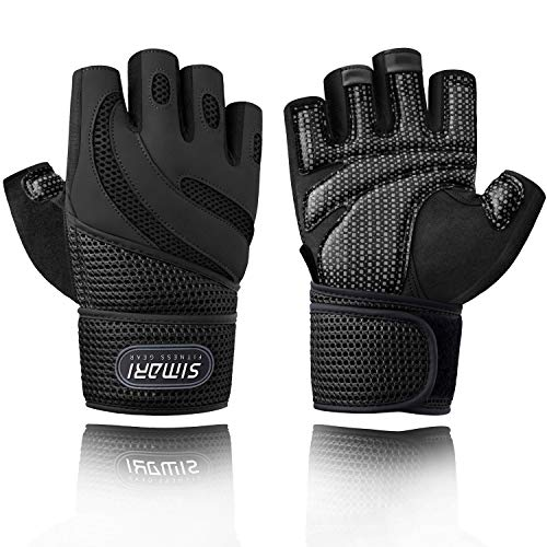SIMARI Workout Gloves for Men Women,Training Gloves with Wrist Support for Fitness Exercise Weight Lifting Gym Crossfit,Made of Microfiber and Air Mesh SMRG903(Black S)