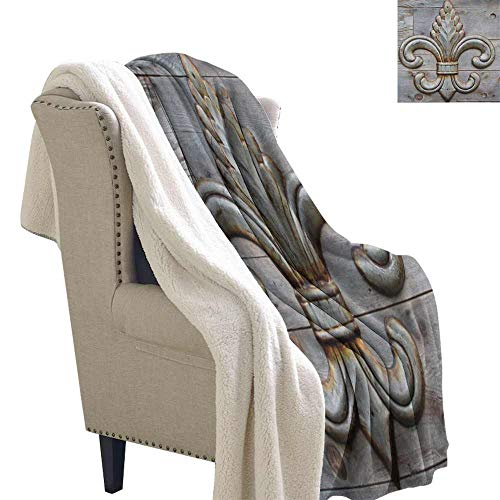 Fleur De Lis Wool Blanket Ancient Lily Symbol on Weathered Old Wooden Planks Historical Theme Image Autumn and Winter Thick BlanketGrey Brown W59 x L31 ()