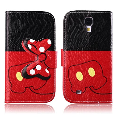Galaxy S4 Case,DELELE MOUSE Monster Bowknot Premium PU Leather Stand Wallet Flip Case with Card Slots,Folio Closure Cover for Samsung Galaxy S4 i9500 (Black Red Bow Bowknot)