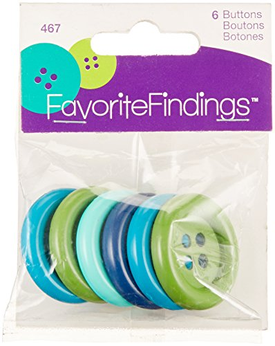 Blumenthal Lansing Larger Round Buttons, 6 Pack All One Size and Style, Colors Included Shades of Blues & Greens
