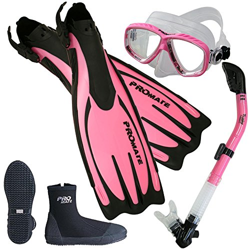 Promate Scuba Dive Fins Boots Dry Snorkel Mask Gear Set, Pink, Mens 8 / Womens 9 (Mask Snorkel Fins Boots)
