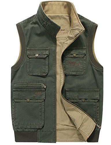 Flygo Men's Reversible Cotton Outdoor Fish Photo Travels Casual Vests with Pockets (XX-Large, Army Green)