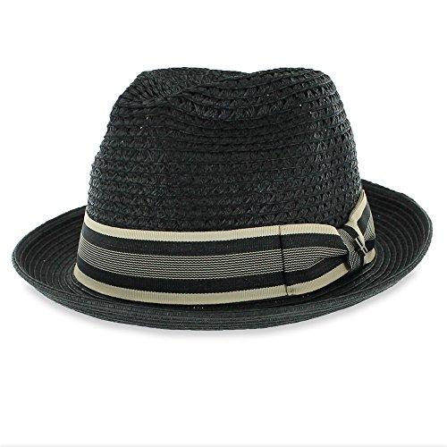 e5dd4b531 Belfry Men/Women Summer Straw Trilby Fedora Hat in Blue, Tan, Black  (XLarge, Mcfayblack)