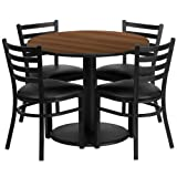 36-Round-Laminate-Table-Set-With-4-Ladder-Back-Metal-Chairs-Vinyl-Seat