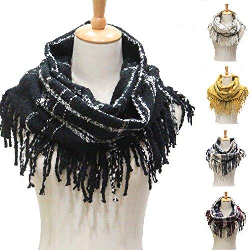 Winter Women Warm Plaid Infinity Scarf,Fashion Ladies Tassel Thick Loop Scarves for Gift (Black)