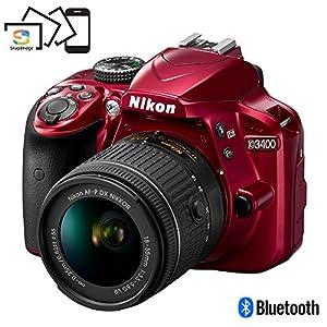Nikon D3400 24.2MP DSLR Camera w/AF-P 18-55 VR & 70-300mm Dual Lens Accessory Bundle - (Certified Refurbished) (Red) by Nikon