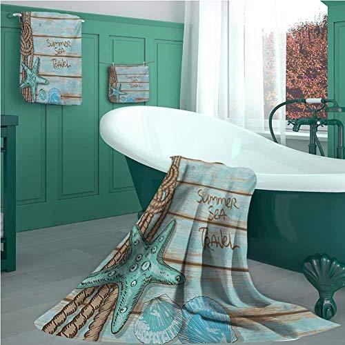 Starfish Casaliving 3 Piece Towel Set, Summer Season Sea Travel Retro Boards of Ship Deck Rope Scallops, 100% Organic…