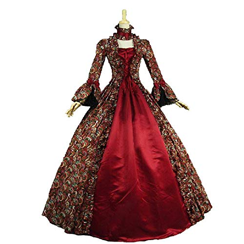 Colonial Georgian Penny Dreadful Victorian Dress Gothic Period Ball Gown Reenactment Theater Costumes (3XL, Red)