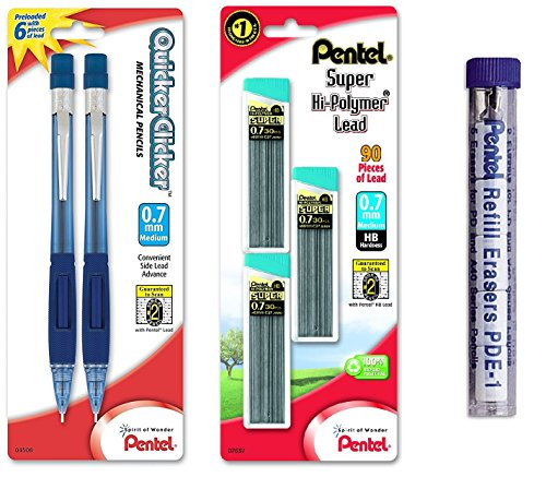 Pentel Quicker Clicker Automatic Pencil, 0.7mm, Transparent Blue Barrel, 2 Pack with Lead and Eraser Refills (Bundle) (Blue Barrel Pentel)