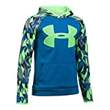 Under Armour Boys' Storm Armour Fleece Big Logo Printed Hoodie,Cruise Blue (899)/Quirky Lime, Youth Small