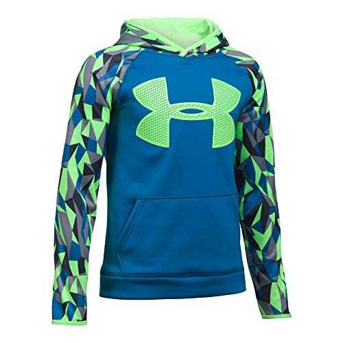 Under Armour Boys' Storm Armour Fleece Big Logo Printed Hoodie,Cruise Blue (899)/Quirky Lime, Youth Small by Under Armour (Image #1)