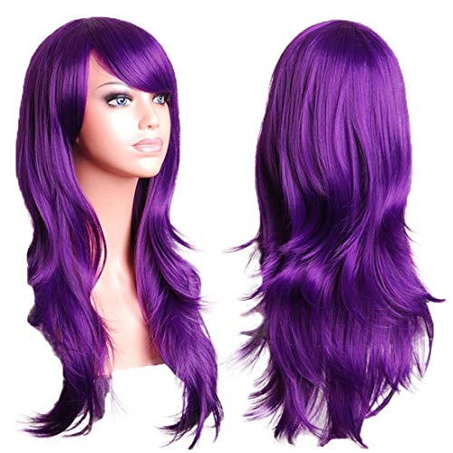 Wigood 28 Inch Purple Long Curly Hair with Air Bangs Cosplay Wig with Free Wig Cap for Women]()