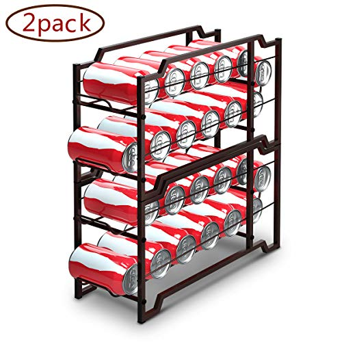 (Simple Trending 2-Pack Soda Can Beverage Dispenser Rack, Stackable Can Storage Organizer Holder for pantry or Refrigerator- Dispenser 12 Standard Size 12oz Soda Cans or Canned food, Bronze)