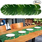Honiture 36pcs Artificial Tropical Palm Leaves, 13.8 by 11.4inch Large Plant Simulation Leaf DIY Table Runner Placemat for Hawaiian Luau Party Jungle Beach Theme Decorations