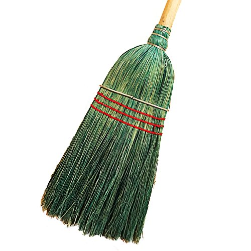 American Market Heavy Duty 100% Corn Broom With Solid 1 1/4'' Thick Wood Handle - 100% Corn Broom