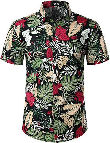JOGAL Men's Cotton Button Down Short Sleeve Hawaiian Shirt (Black Cockscomb, Large)
