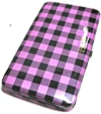 Flat Wallet Checker Print with Zipper Pocket, Id Photo Slots and Choice of Colors