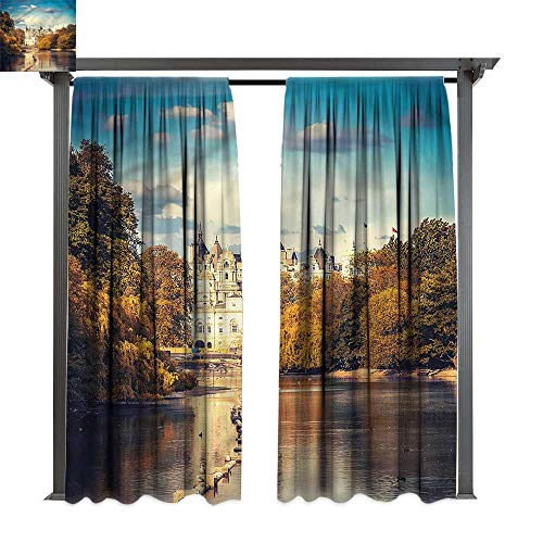 cobeDecor Outdoor Curtain London Colored Baroque Heritage for Lawn & Garden, Water & Wind Proof W108 xL108