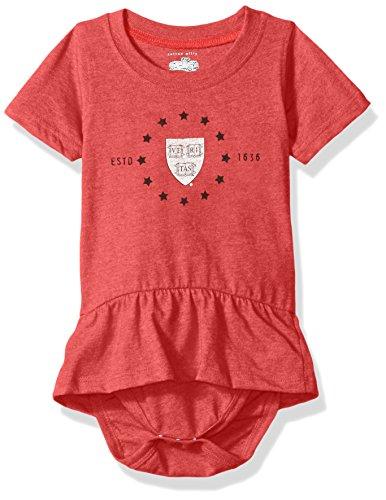 NCAA Harvard Crimson Children Girls Short Sleeve Ruffle Onesie,6M,Cherry Blend - Cherry Ruffle