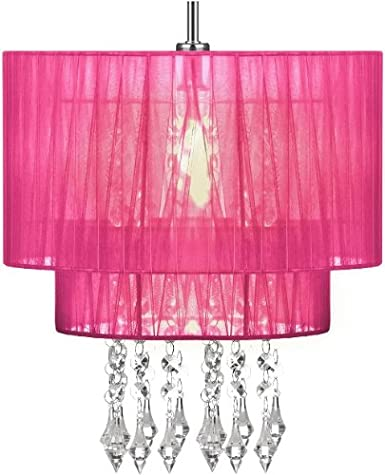 Pendant Shade Beaded Ceiling Light Chandelier Hot Pink Lampshade New