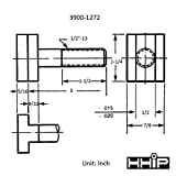 "HHIP 3900-1272 Steel T-Slot Bolt, 1/2-13"" x 3"""