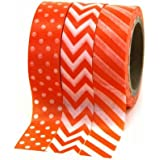 Dress My Cupcake Party Collection Washi Paper Tape, Orange, Set of 3