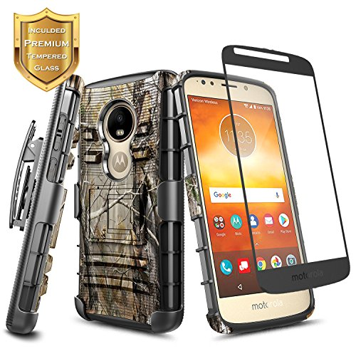 - Moto E5 Play Case, Moto E5 Go/Moto E5 Cruise w/[Tempered Glass Screen Protector], NageBee Belt Clip Holster Heavy Duty Shockproof Kickstand Combo Rugged Case for Motorola Moto E Play 5th Gen -Camo