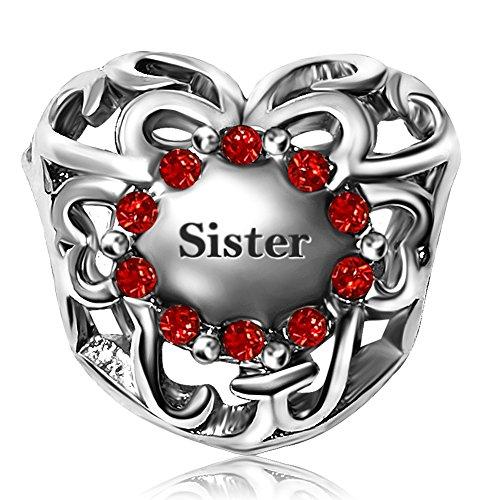JMQJewelry Sister Heart July Birthstonen Charm Crystal Rhinestone Beads For Charms (Sister Charm)