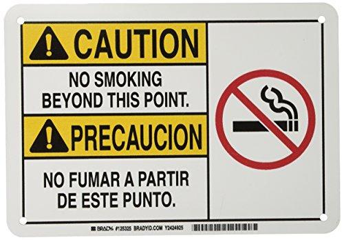 Brady 125325 Bilingual Sign, Legend 'No Smoking Beyond This Point./No Fumar A Partir De Este Punto', 7' Height, 10' Weight,...