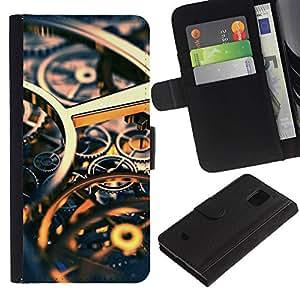 LASTONE PHONE CASE / Lujo Billetera de Cuero Caso del tirón Titular de la tarjeta Flip Carcasa Funda para Samsung Galaxy S5 Mini, SM-G800, NOT S5 REGULAR! / Time Clock Gold Gears Engineering