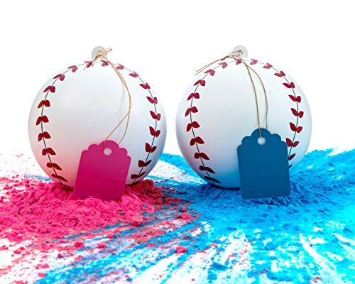 Gender Reveal Baseball Set - 2 Baseballs (1 Blue Ball, 1 Pink Ball) Exploding with Powder - Best Idea for Boy or Girl Baby Sex Revealing Party ()