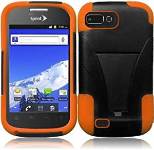 BlackOorange Premium Double Protection 2 in 1 Hard + Silicon Hybrid Challenger Case Cover Protector with Kickstand for ZTE Valet Z665C (by Straight Talk) with Free Gift Reliable Accessory Pen