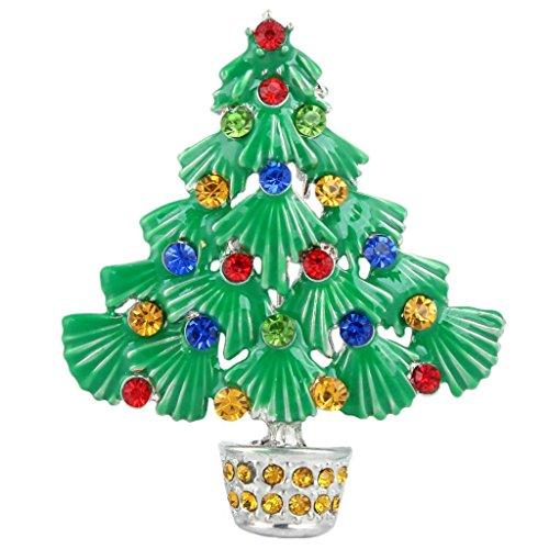 Ever Faith - Broche Ton-Argent Charmant Autrichien Cristal émail Arbre de Noël Multi-color N04769-2