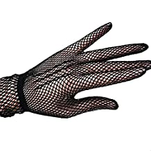 LUOEM Ladies Fishnet Gloves Hollow Wedding Dress Gloves Summer Sunscreen Driving Wrist Gloves (Black)