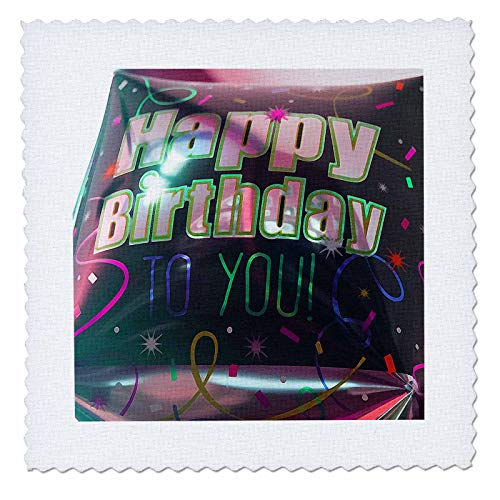 3dRose Jos Fauxtographee- Birthday - A big square balloon that says Happy Birthday to You in black - 10x10 inch quilt square (qs_320075_1) (Images Of Balloons That Say Happy Birthday)