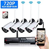 Wireless 4-Channel 720P Security Camera System with 4pcs 1MP Full HD Cameras,Home CCTV Surveillance System,Indoors/Outdoors IP Cameras+4CH WiFi NVR Recorder,1TB Hard Disk Drive Pre-Installed