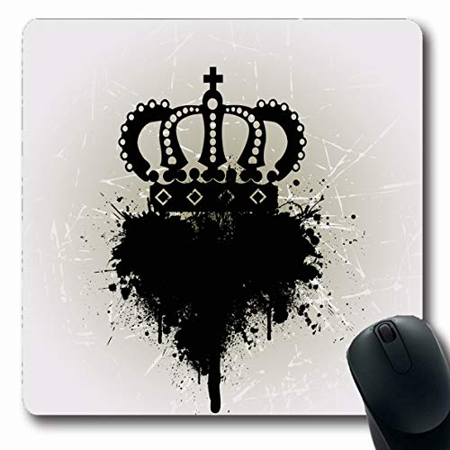 Ahawoso Mousepad Oblong 7.9x9.8 Inches Silver King Royal Crown Blot Clip Award Throne Queen Princess Empire Cross Design Diamond Office Computer Laptop Notebook Mouse Pad,Non-Slip Rubber