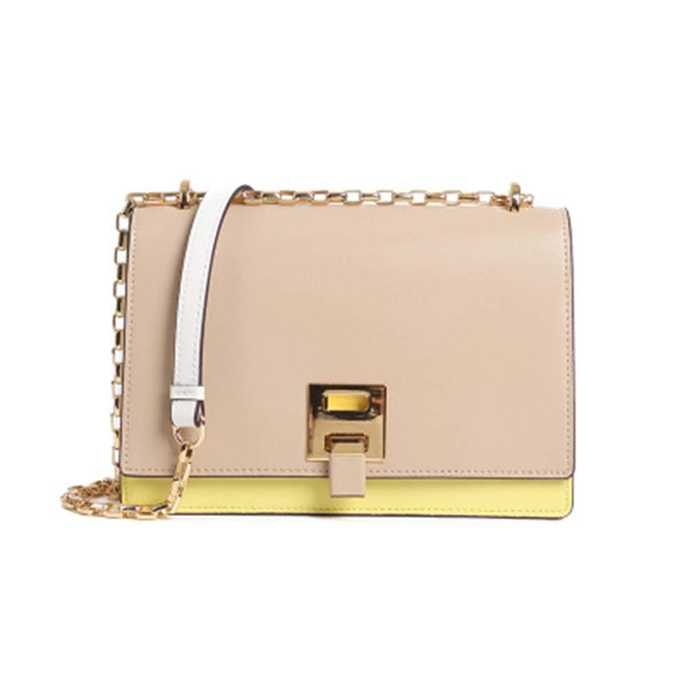 レトロレザーハンドバッグロックチェーン小さな正方形のバッグ2019春と夏の新しいファッショントレンドレザーショルダーメッセンジャーバッグ (Color : Natural, Size : S)   B07PMC8R6Q