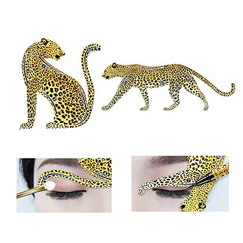 [2019 NEW DESIGN] 2 Pcs Cat Eyeliner Stencils Leopard Shape, Sturdier PVC Material Smoky Eyeshadow Applicators Template Plate, Cat Shape Eye liner & Eye Shadow Guide Template Tool