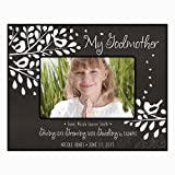 Gift for Godmother from Godchild Personalized Godparents Photo frame holds 4x6 photo Giving Love Growing Faith Guiding by Example (4x6, Black)