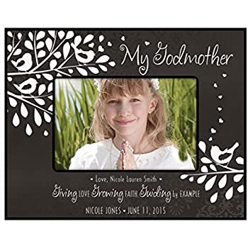 gift for godmother from godchild personalized godparents photo frame holds 4x6 photo giving love growing faith guiding by example 4x6 black