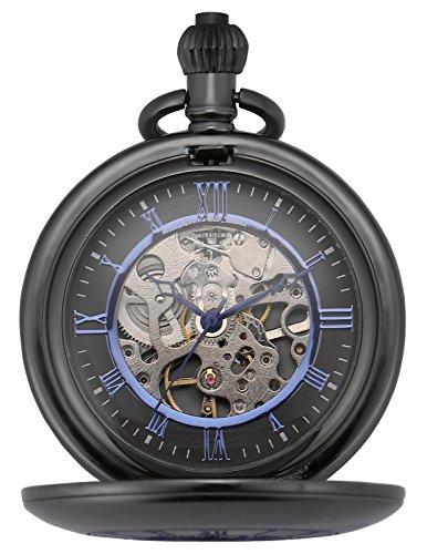 KS Half Hunter Mechanical Hand Wind Classic Pocket Watch Black Alloy Case KSP090 by Kronen Soehne