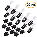 KUUQA 20 Pack Garden Flag Rubber Stoppers and Plastic Clips, Accessories for Garden Flag Poles Stand