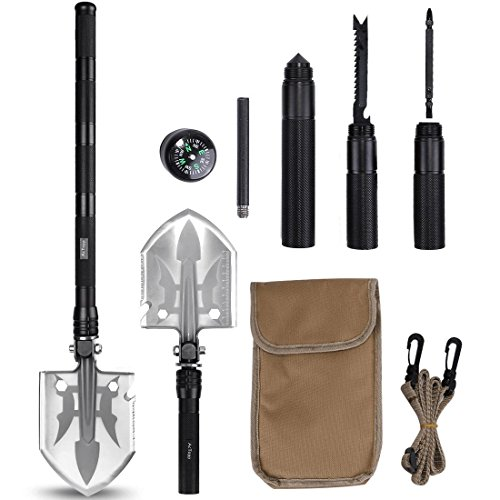 AcTopp Compact Military Folding Shovel Kit, Detachable Survival Folding Shovel with Knife Fire Starter Compass Screwdriver for Emergency Outdoor Camping Shovel Bonus Carry Bag