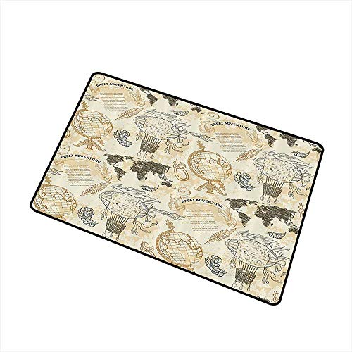 Mdxizc Outdoor Door mat Wanderlust Decor Pattern with Vintage Globe World Map Airship Rope Knots Ribbon Retro Illustration W35 xL47 Quick and Easy to Clean Beige Olive Green