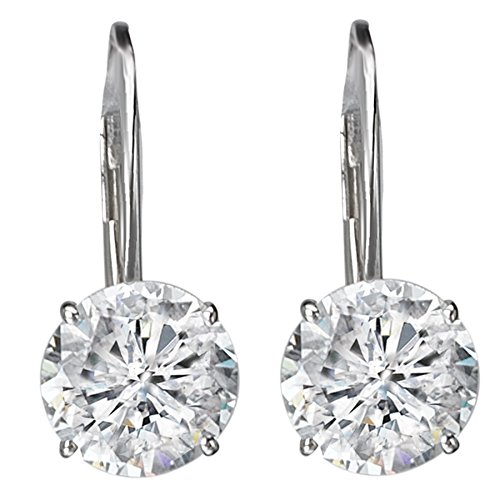 14k White Gold Leverback Solitaire CZ Earrings (3.0ctw)