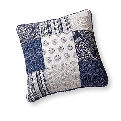 DaDa Bedding Patchwork Euro Sham - 100% Cotton Bohemian Denim Blue Elegance - Bright Vibrant Multi Colorful Navy Floral - 26