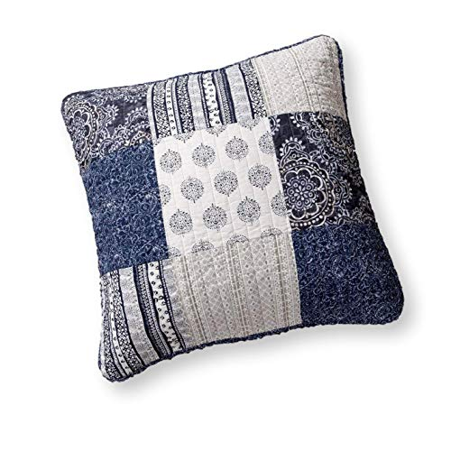 - DaDa Bedding Patchwork Euro Sham - 100% Cotton Bohemian Denim Blue Elegance - Bright Vibrant Multi Colorful Navy Floral - 26
